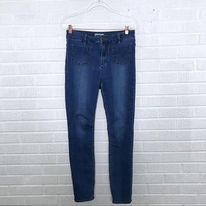 Free People High Rise Skinny Jeans Patch Pockets